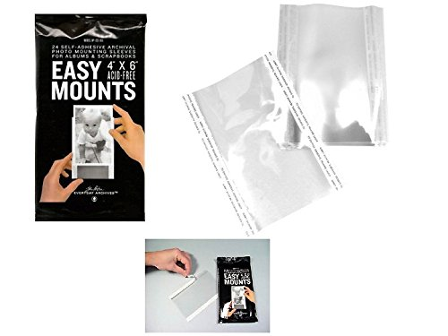 "Photo Sleeves, 48 Acid-Free, Archival Clear 4"" x 6"" Self-Adhesive EASY MOUNTS"
