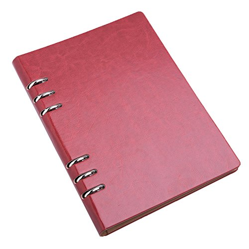 CAIZHE Notebook A5 PU Leather Thick Classic Writing Journal Refillable Loose Leaf Diary Spiral Bound Hardcover Sketchbook,200 Pages,8.25x5.5 inch (Red)