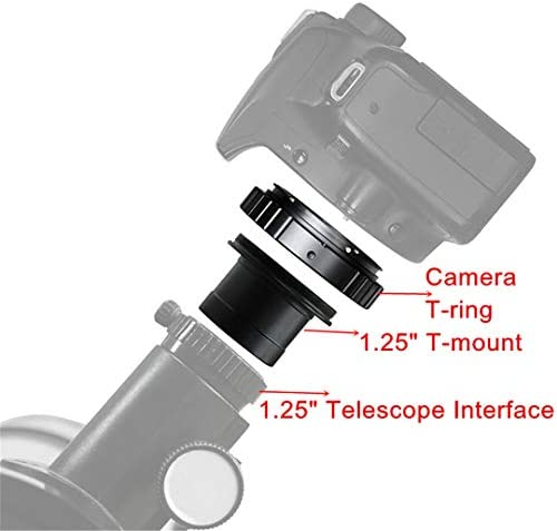 Teolhensot 1.25 T-Mount Metal Telescope Adapter M42x0.75 and SLR//DSLR Cameras T-Ring Professional Astronomical Telescope Photography