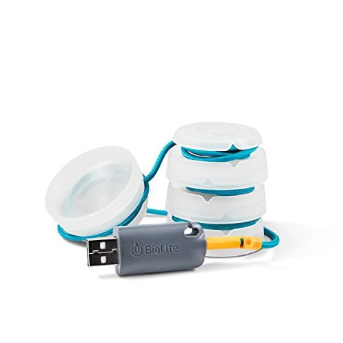 BioLite SiteLight Mini Lights for Camping and Outdoors, 4 Mini Lights on a 10 Foot Cord, USB Powered, White/Aqua (SLB1001)