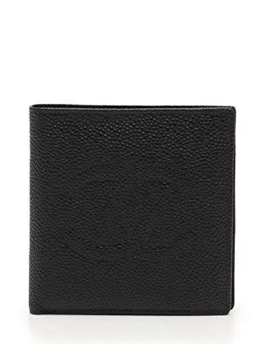 (シャネル) CHANEL ココマーク 二つ折り財布 キャビアスキン 黒 中古   B07NQB1SRC