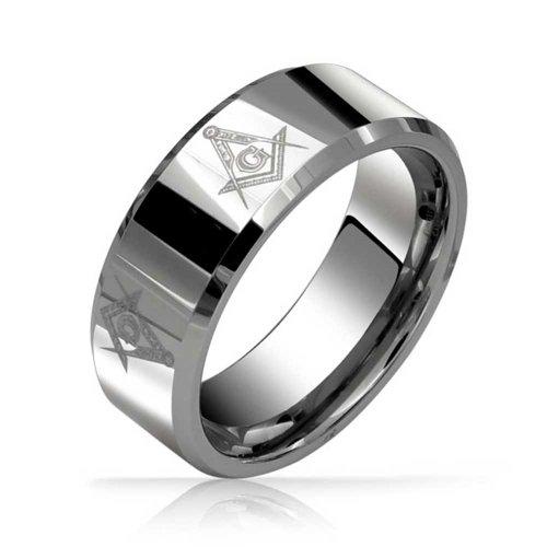 Bling Jewelry Freemason Masonic Mens Tungsten Band...