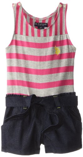 U.S. POLO ASSN. Little Girls' Stripe Tank Top Knit and Romper