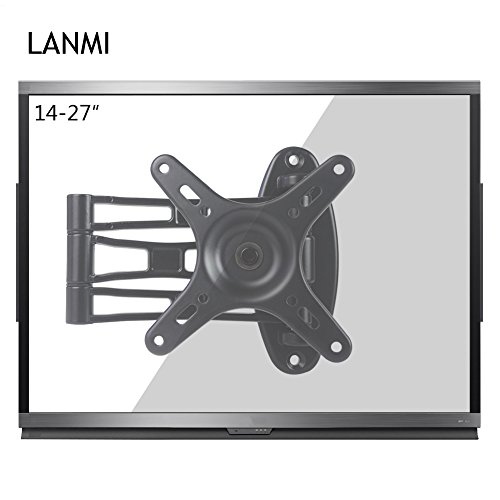 LANMI s13 TV LCD Monitor Wall Mount Rack Full Motion Extension Arm Articulating Tilt Swivel for Most 14 to 27-Inch LED TV Flat Panel Screen with VESA ()