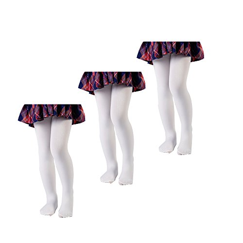 3Pack 40D little girls microfiber tights(from 0-14T), Ivory, 12-24 Months