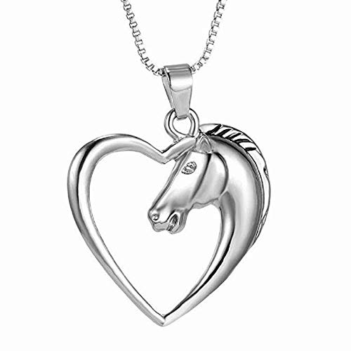 Women Love Shape Necklace FAVOT Fashion Luxury Silver Plate Horse Head Pendant Choker Personality Jewelry Accessorie GIF (Silver)