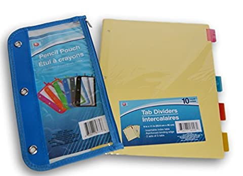 3-Ring Binder Organizational Bundle - 10 Dividers and Pencil Pouch (Colors Vary) (Divider Pencil)