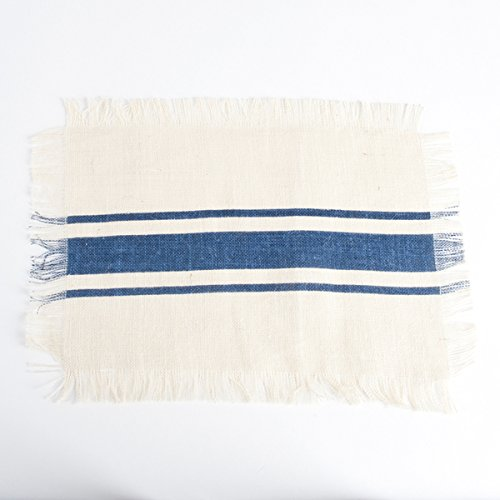 Striped Fringed Jute Placemat Set of 4 ()