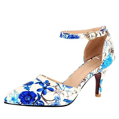 Charm Foot Women's Comfort Floral Ankle Strap High Heel Pump Shoes (7, Blue)