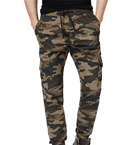 Joggers Pants for Men Fashion Cotton Twill Chino Pants Regular Fit Camo 34W31L