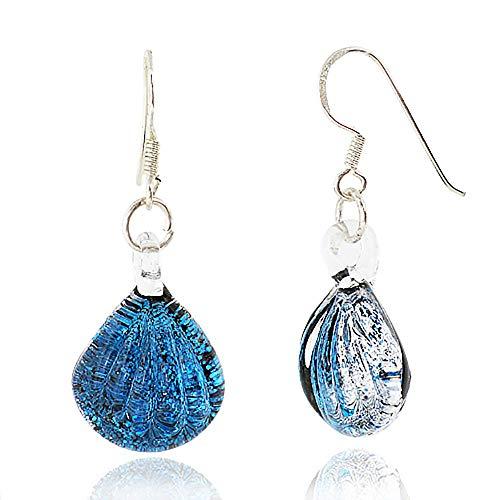 925 Sterling Silver Hand Blown Venetian Murano Glass Blue Clear Sea Shell Shaped Dangle Earrings