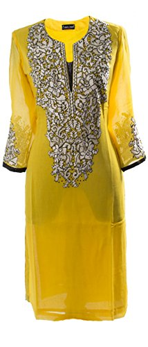 AzraJamil-Bewitching-Georgette-Embroidered-Kurta-Yellow