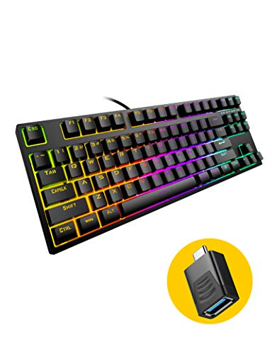 Hiwings HI100 87 Keys Mechanical Gaming Keyboard RGB LED Rainbow Backlit Gaming Keyboard with Blue Switches Wired Keyboard for Windows, Mac and Linux with Type C Adapter (Extra OTG, Black)