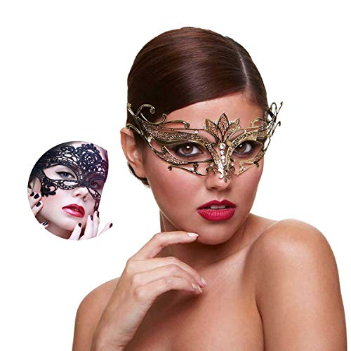- Masquerade Mask for Women Shiny Rhinestone Venetian Party Prom Ball Metal Mask (Golden Lotus)