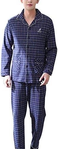 オールシーズンに最適 パジャマメンズ春と秋の綿の長袖パジャマ部屋着薄片中年の父-SY7163