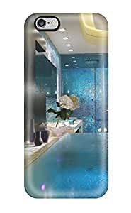 Iphone 6 Plus Case Cover Skin : Premium High Quality Contemporary Master Bathroom With Blue Mosaic Tile Shower 038 Infinity Edge Tub Case by icecream design