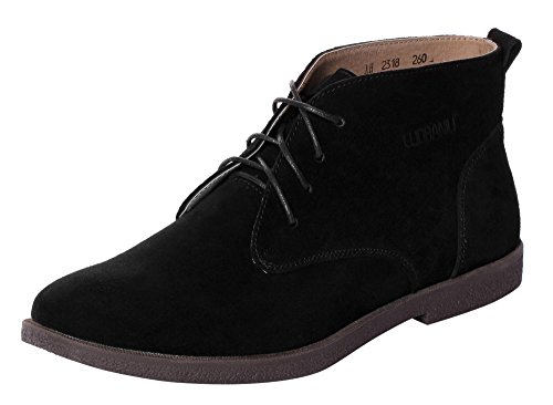 Mens Boots Sale Online (UJoowalk Mens Leather Suede Classic Original Lace Up Short Ankle Desert Shoes Dress Chukka Boots (11 D(M)US, Black))