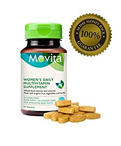 Movita Women's Daily Multivitamin - Probiotic Fermentation of Whole Foods, Vitamins, and Minerals - Certified Organic, Gluten-Free, & Non-GMO - 30 Day Supply