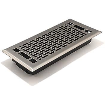 Accord AMFRSNMA410 Manhattan Floor Register, 4-Inch x 10-Inch(Duct Opening Measurements), Satin Nickel