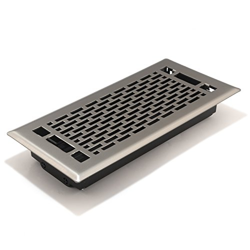 Accord AMFRSNMA410 Manhattan Floor Register, 4-Inch x 10-Inch(Duct Opening Measurements), Satin - Nickel Register Floor