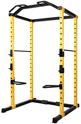 - HulkFit 1000-Pound Capacity Multi-Function Adjustable Power Cage with J-Hooks and Dip Bars, Power Cage Only