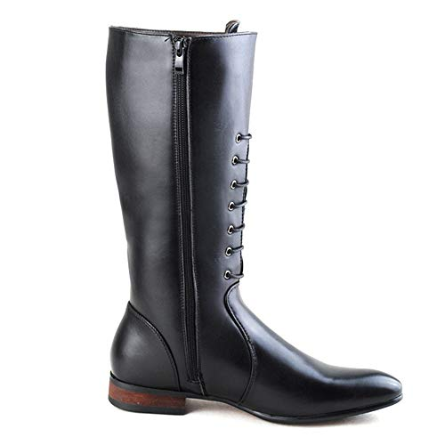 Para Negro Cuero Zapatos 38 Botas Ruiyue Negro Cremallera Lateral Con Cordones color Caña De Alta Eu Hombres Pu Tamaño Combate xH7q4AY