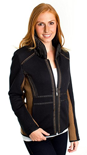 MontanaCo Women's Hamilton Jacket Black - Poly Cotton Fabric with Ruched Collar - Extra Large