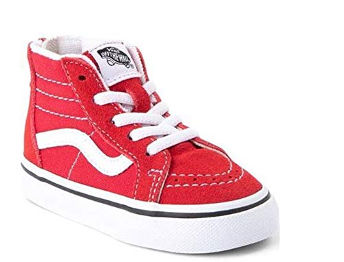 Vans Sk8 - Hi Zip Toddler Racing Red/True White Skate Shoes (7.0 Toddler) (Red Vans Infant)