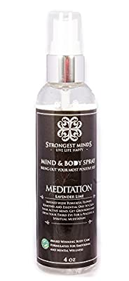 """Meditation"" Mind and Body Mist for Men and Women combines powerful flower remedies with essential oils to calm an overactive mind Lavender Lime essential oils natural Chemical-Free Therapy"