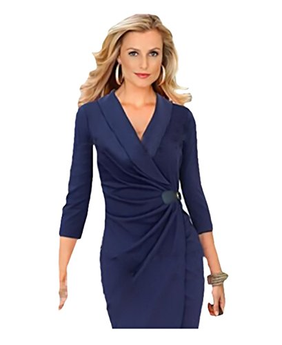 Dress Navy Blue Ruched Mode Wrapped Neck Women's Pencil CA Wiggle OL Tzq8Hqn