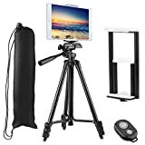 """Tripod for Phone with Phone & Tablet Mount, PEYOU 50"""" Lightweight Aluminum Camera Tripod + [2 In 1] Tablet & Smartphone Holder Mount + Water-resistant Carring Bag With Wireless Bluetooth Remote Shutter For iPhone Xs/Xs Max/X 8/8 Plus 7/7 Plus SE, for Samsung Galaxy S8/S8 Plus S7/S7 Edge S6 Edge/S6 S5, Compatible with Apple iPad Pro 9.7"""" iPad Air 1/2 iPad Mini 1/2/3/4 and More Phones & Tablets & Cameras"""