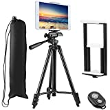 """PEYOU Compatible for iPad iPhone Tripod,50 inch Lightweight Aluminum Phone Camera Tablet Tripod + Wireless Remote + 2 in 1 Mount Holder Compatible for Smartphone (Width 2-3.3""""),Tablet (Width 4.3-7.2"""")"""