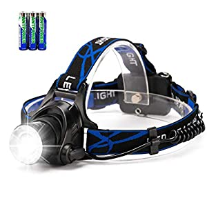 Zooomable LED Head Torch Headlamp, HFAN 800 Lumens Head Torches with 3 Light Modes for Camping, Riding, Running, Walking…