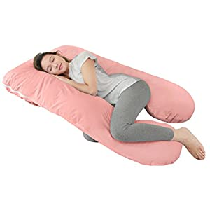 Queen Rose U Shaped Pregnancy Body Pillow with Zipper Removable Cover (Lovely Pink)