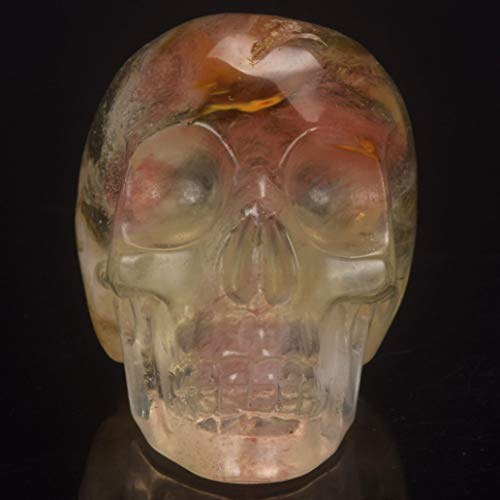 RXIN 2 Inch Stone Skull Statue Mineral Crystal Skull Figurine Carved Halloween Collection Cabinet -