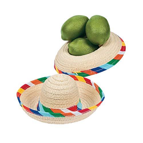 Fun Express Mini Sombrero Hats - Mexican Party Decor - Tabletop Party Supplies - 12 Pack ()