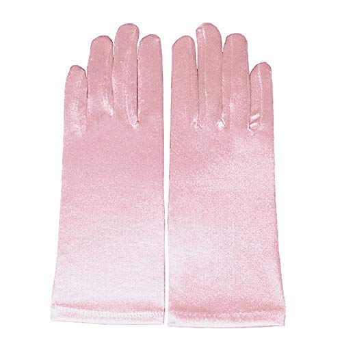 (Miranda's Bridal Women's Wrist Length Formal Satin Gloves Pink )