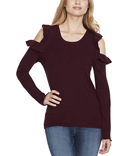 - Jessica Simpson Juniors' Ruffled Cold-Shoulder Sweater (Fig, Small)