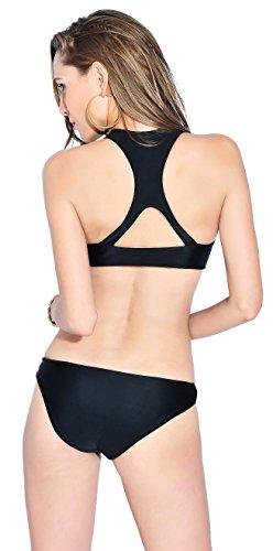 YARBAR Bañador de Mujer Push-up,de una pieza, forma Triangular Negro