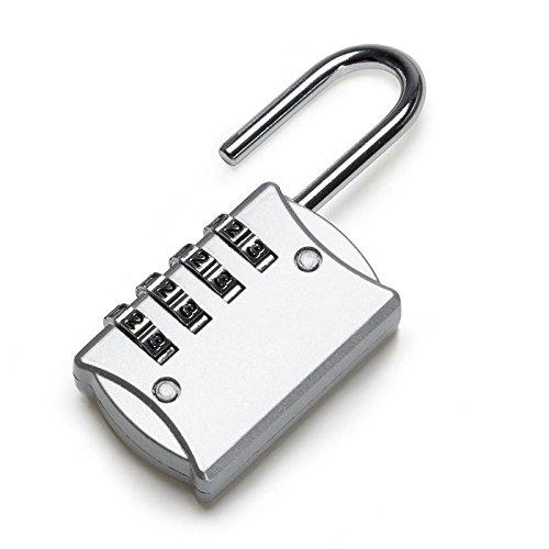 Luntus 2 piezas de Candado de 4 digitos Codigo de seguridad Antirrobo de aleacion de zinc perfecto para armario Estuche de viaje Etc Plata