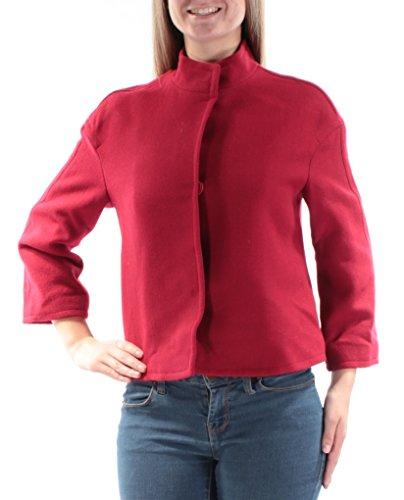 Anne Klein Women's Button Down Cropped Wool Blend Topper, Titian Red, 10 by Anne Klein