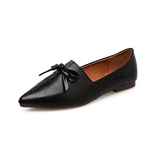 Giy Kvinner Retro Spiss Tå Loafers Flat Moccasin Slip-on Komfort Bow Klassiske Kjole Loafer Ballett Sko Svart