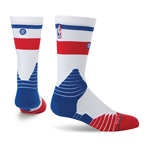(Stance Men's NBA Core Los Angeles Clippers Logo Socks X-Large (13-16) White Blue Red)