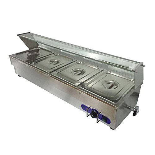 4-Pan Buffet Bain-Marie Food Warmer Steam Table 1500W 110V Restaurant (Warming Equipment Steam Tables)