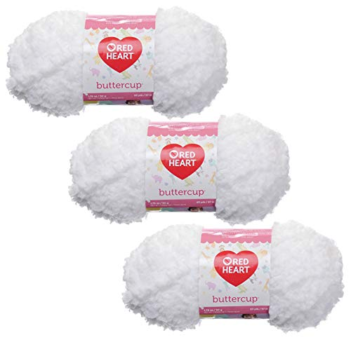 Red Heart Buttercup 50g Yarn, 3-Pack, White