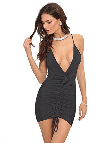 HELYO Women's Elegant Sexy Spaghetti Straps Deep V Neck Sleeveless Bodycon Club...
