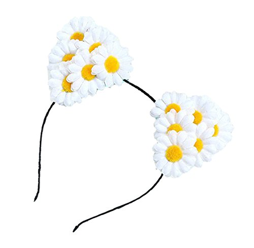 Floral Fall Daisy Floral Rave Cat Ears Festival Girls Cat Costume Headband F-72 (White)