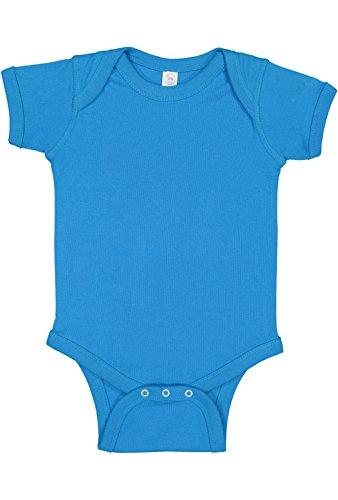 100% Cotton Baby Rib Lap Shoulder Short Sleeve Bodysuit (Cobalt, 6 Months) ()