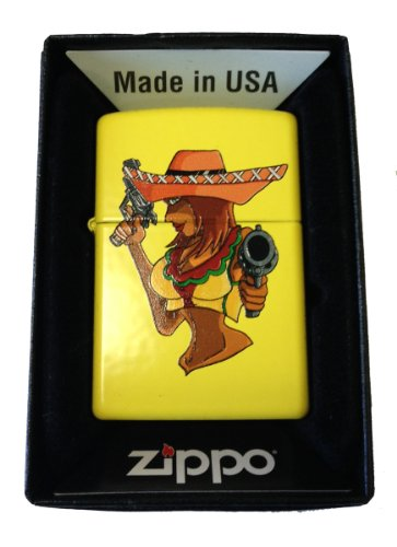 Zippo Custom Lighter - Sexy Big Boobs Sombraro Babe w/ Guns Lemon Yellow (Big Zippo Lighter)
