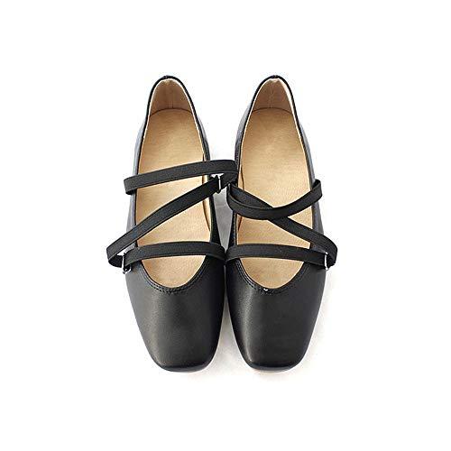 FLYRCX La Boca Baja Transpirable Tela elástica cómodos Zapatos de Ballet Zapatos Planos de Las señoras Zapatos de Trabajo Informal, 39 UE 38 EU